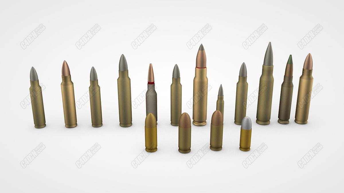 16种不同规格的武器子弹C4D模型