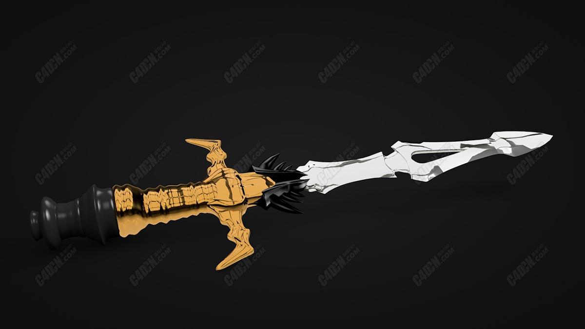 C4D模型-精致匕首 Fil cursedaggerL