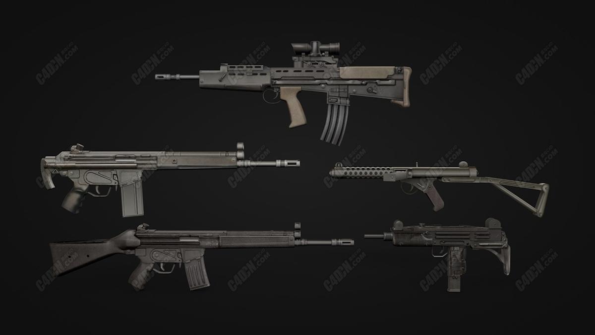冲锋枪瞄准镜步枪现代战争士兵武器C4D模型