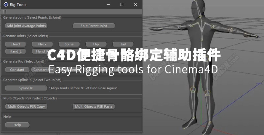 C4D插件-便捷骨骼绑定辅助插件[含教程] Easy Rigging tools for Cinema4D