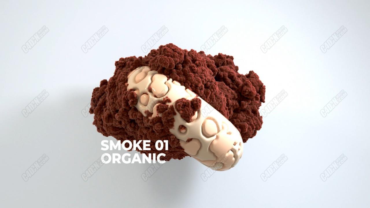 C4D马赛克烟雾动画工程 Smoke Organic