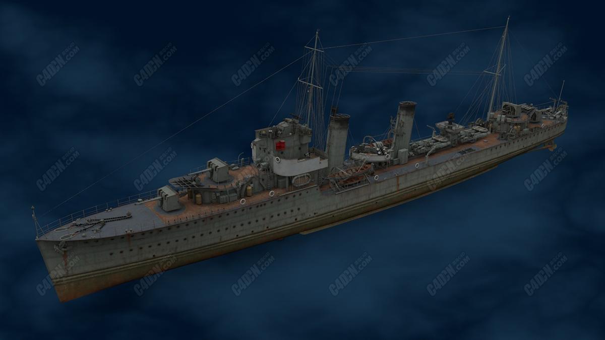 英国Acasta号战列舰战船C4D模型