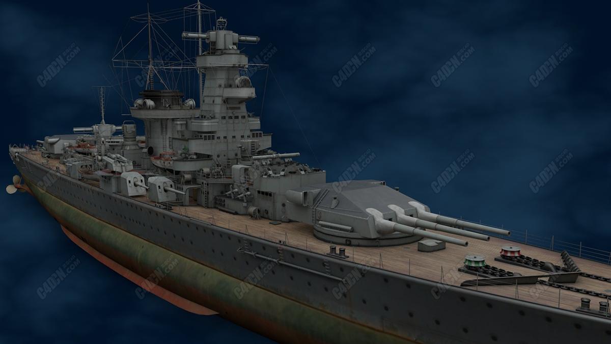 施佩伯爵海军上将号袖珍战列舰C4D模型 admiral graf spee