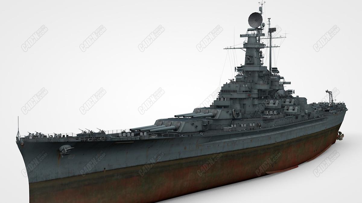 C4D模型-陈旧的阿拉巴马号战列舰战船武器