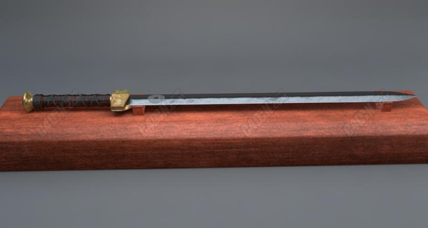 放在木头上的古代冷兵器宝剑C4D模型
