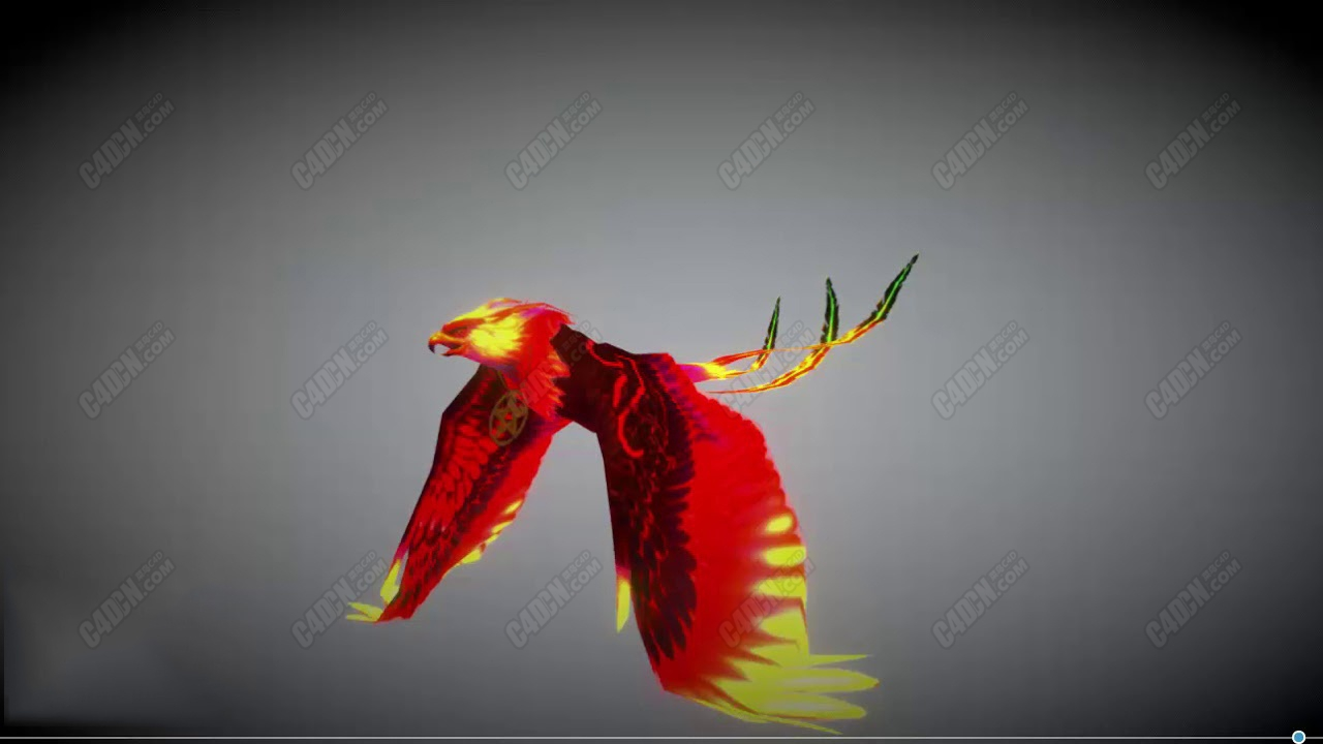 C4D火凤凰模型[含飞行动画] Phoenix fire Model 3d for c4d