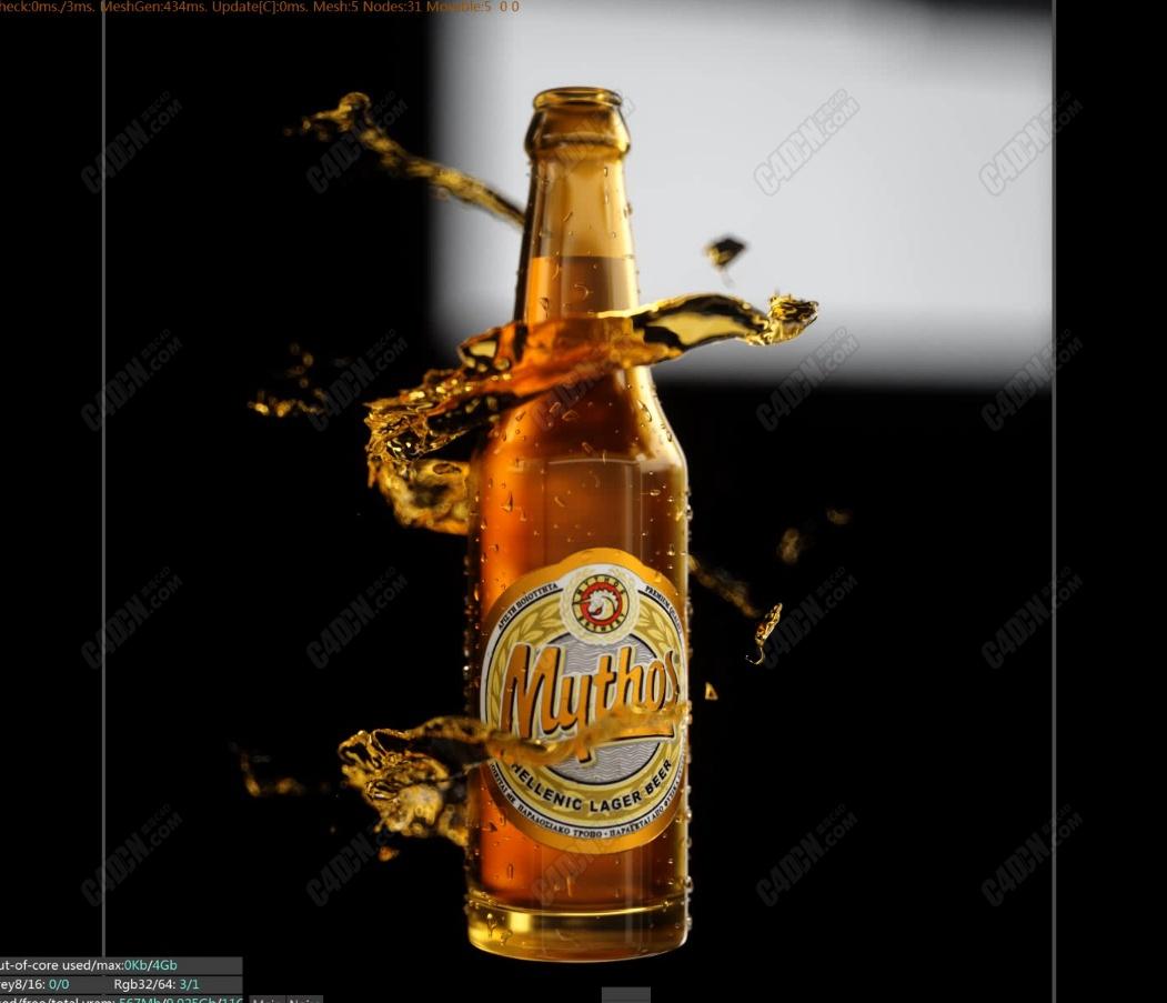 C4D啤酒海報制作-流體特效