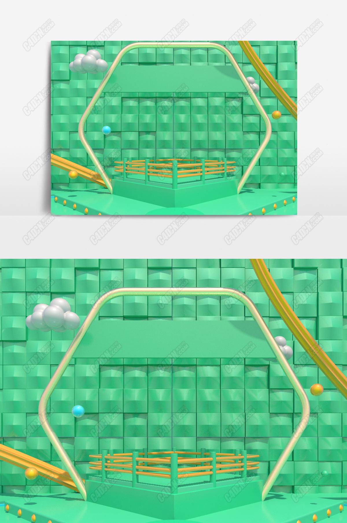 绿色金属模型舞台