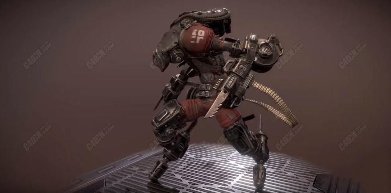 C4D恐惧漫游者电锯战争机器人模型 Dread Roamer Model