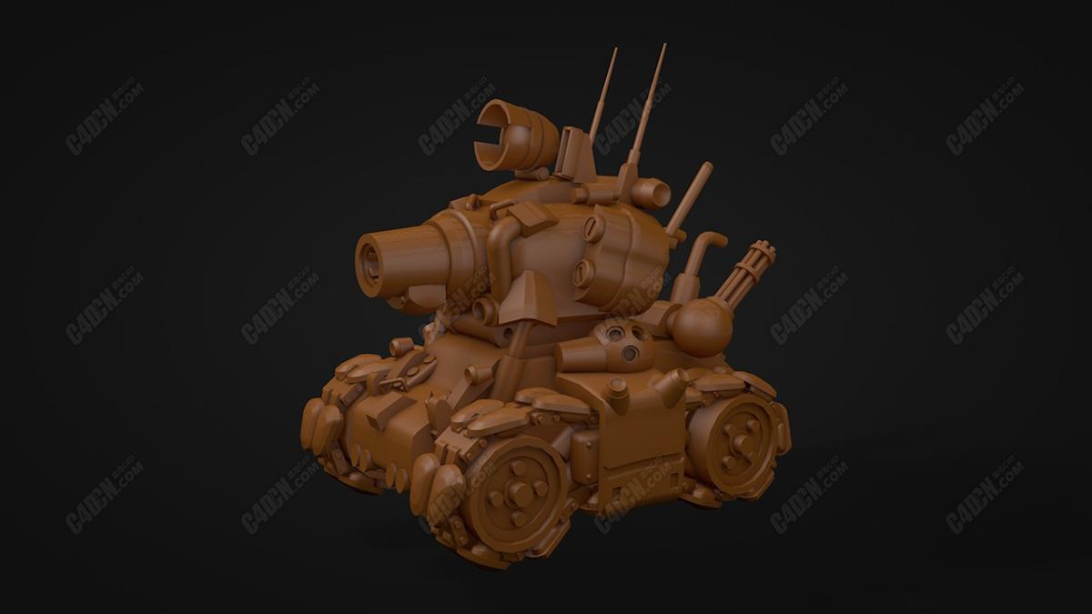 C4D合金弹头金属坦克模型 Metal Slug Tank c4d Model