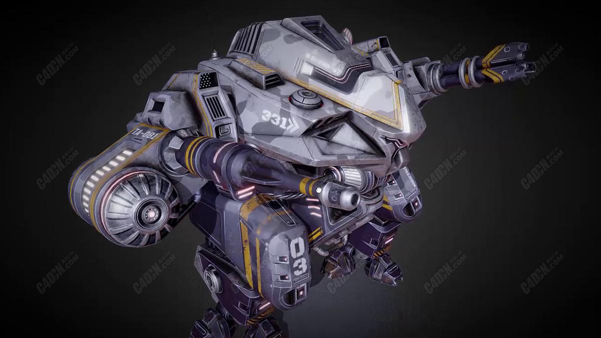 C4D军用机械战斗机器人模型 Military Mech C4D Model