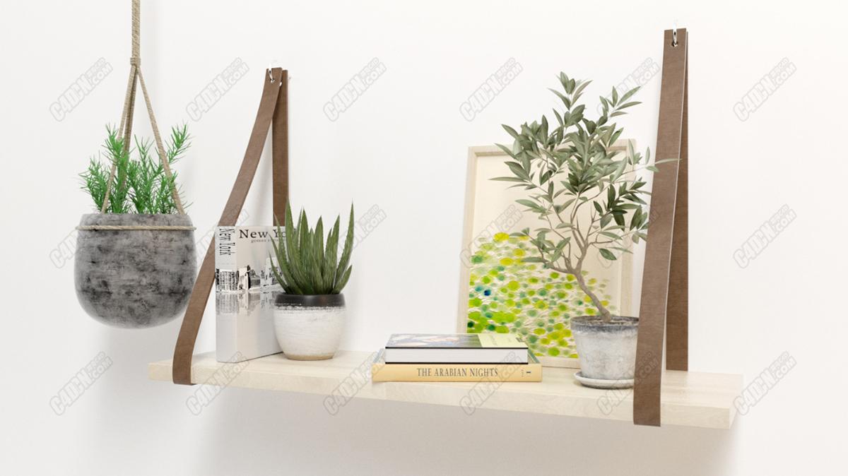 现代绿植盆栽墙面装饰架01