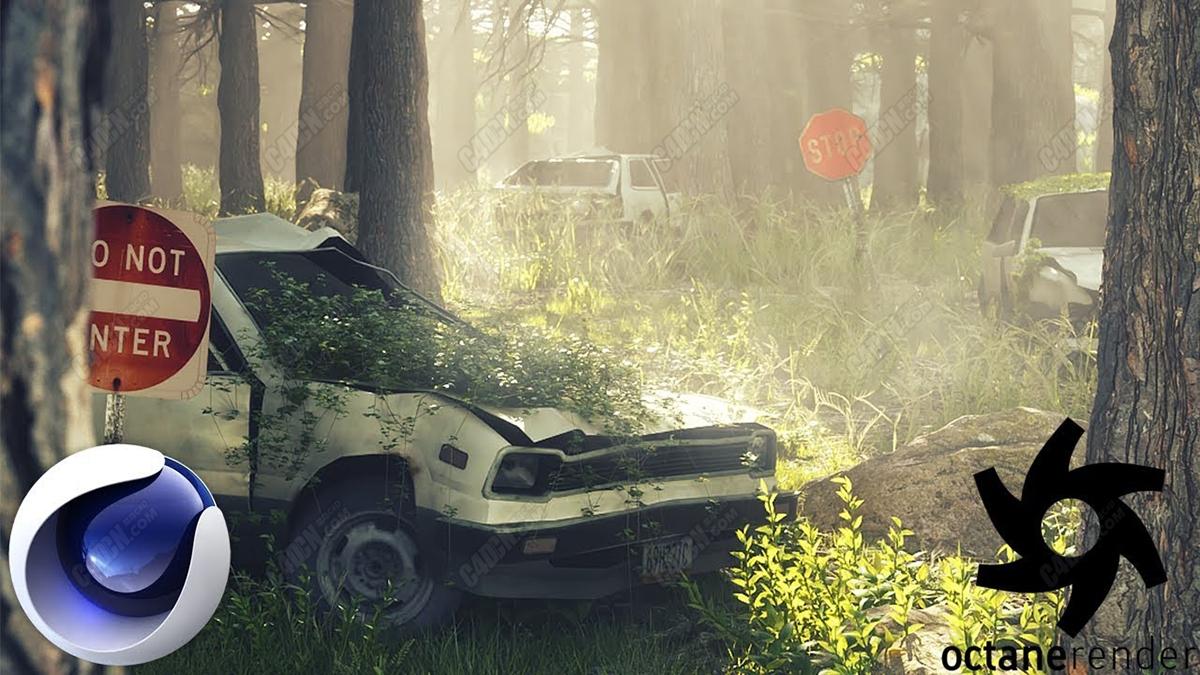 C4D教程 创建森林报废汽车植物花草世界末日环境Cinema4D和Octane渲染教程