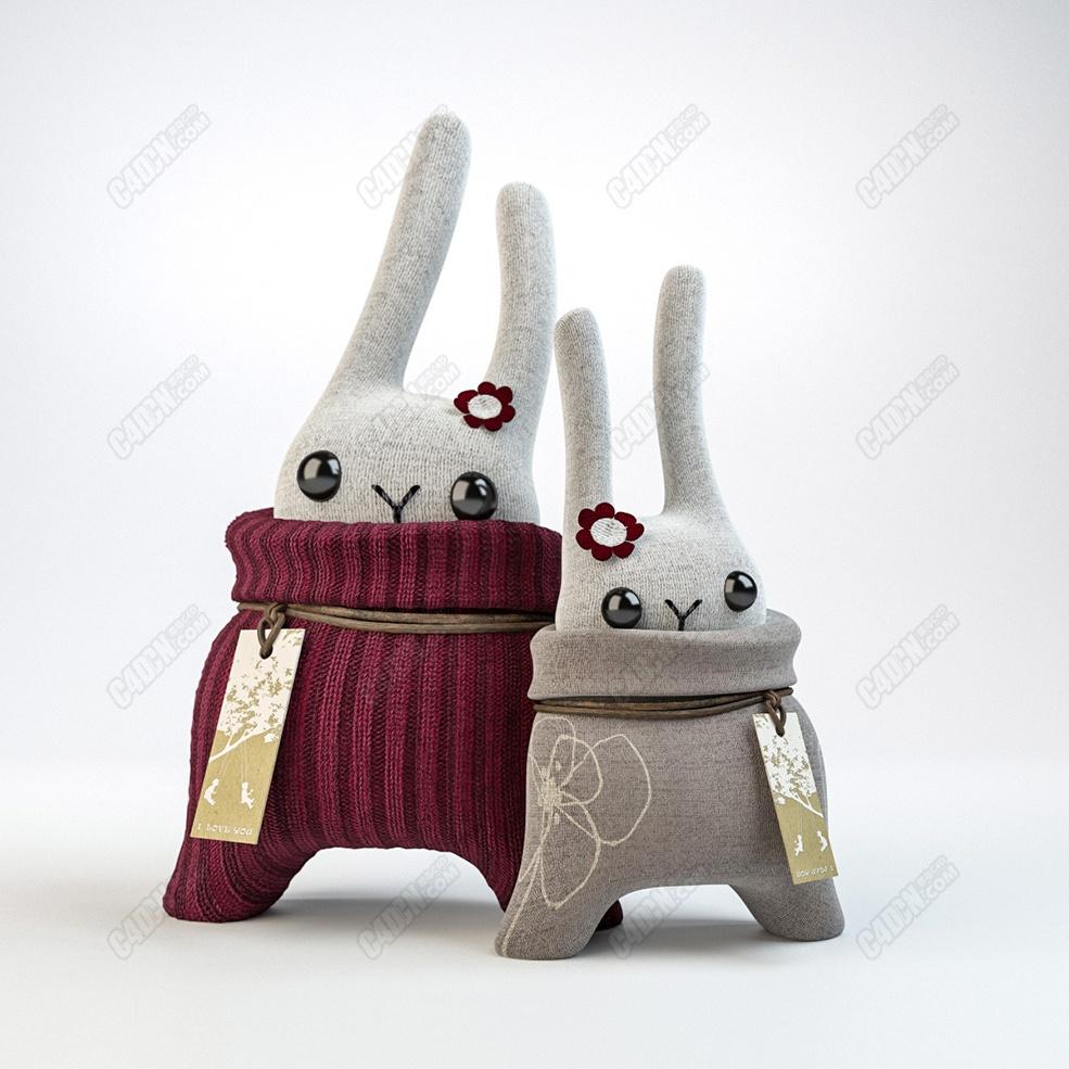 C4D模型 精品写实毛衣编织物布料兔子玩偶模型