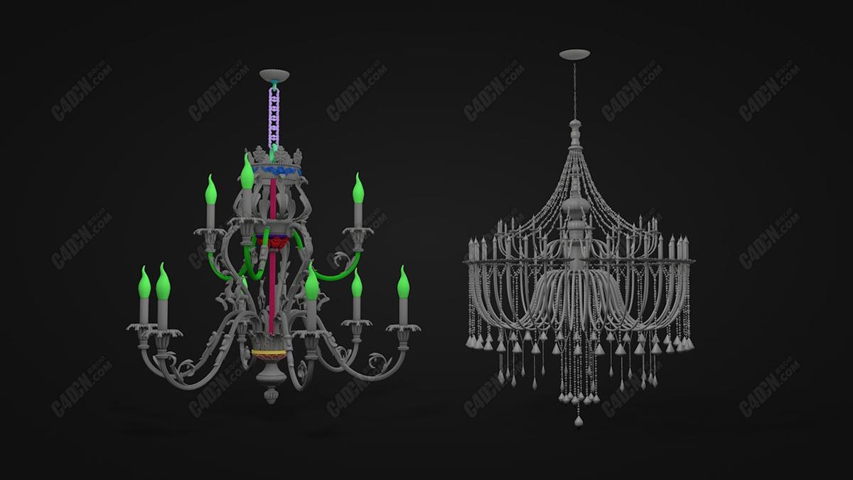C4D模型 两款复古欧式水晶吊灯蜡烛台(不含材质)