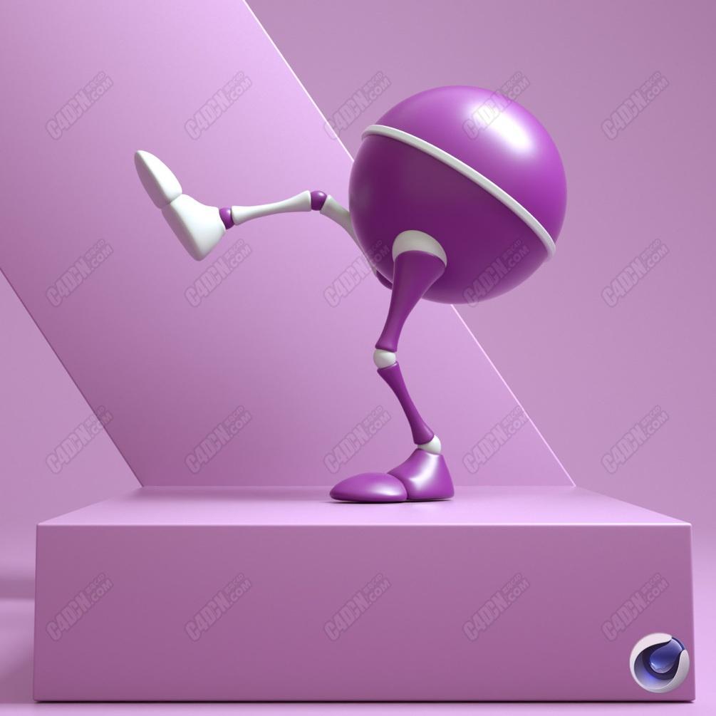 C4D半球人偶双腿骨骼绑定模型 TwoLeg4d  Rigged