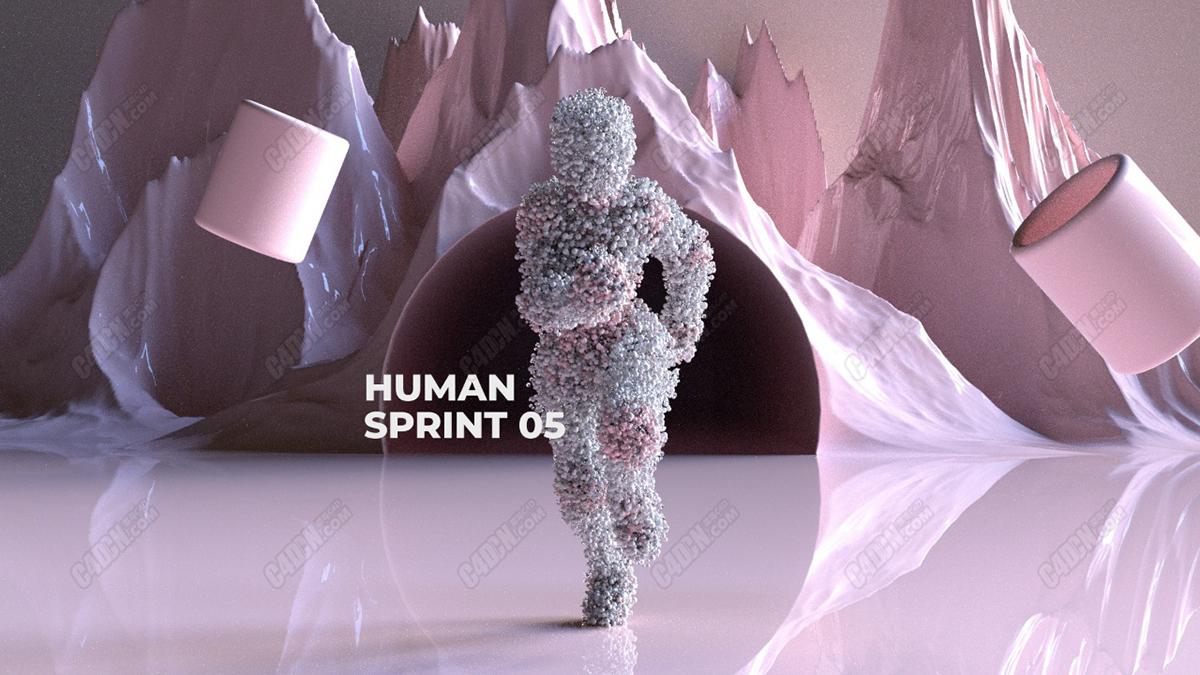 C4D动画模型 从山洞跑步出来的人物 Human Sprint