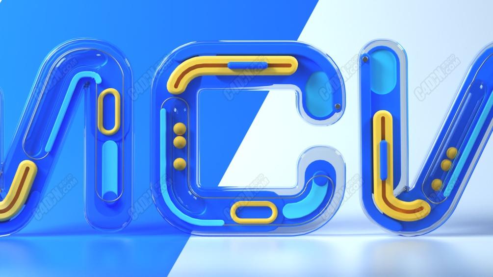 C4D塑料材质卡通玩具字体设计Octane渲染器工程模型