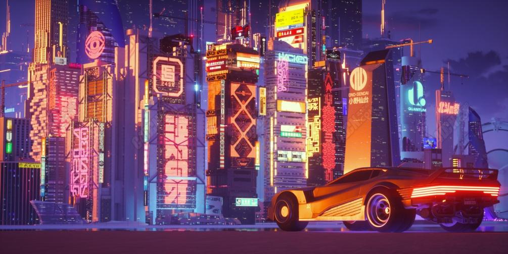 Octane渲染器C4D赛博朋克现代霓虹灯城市场景工程模型