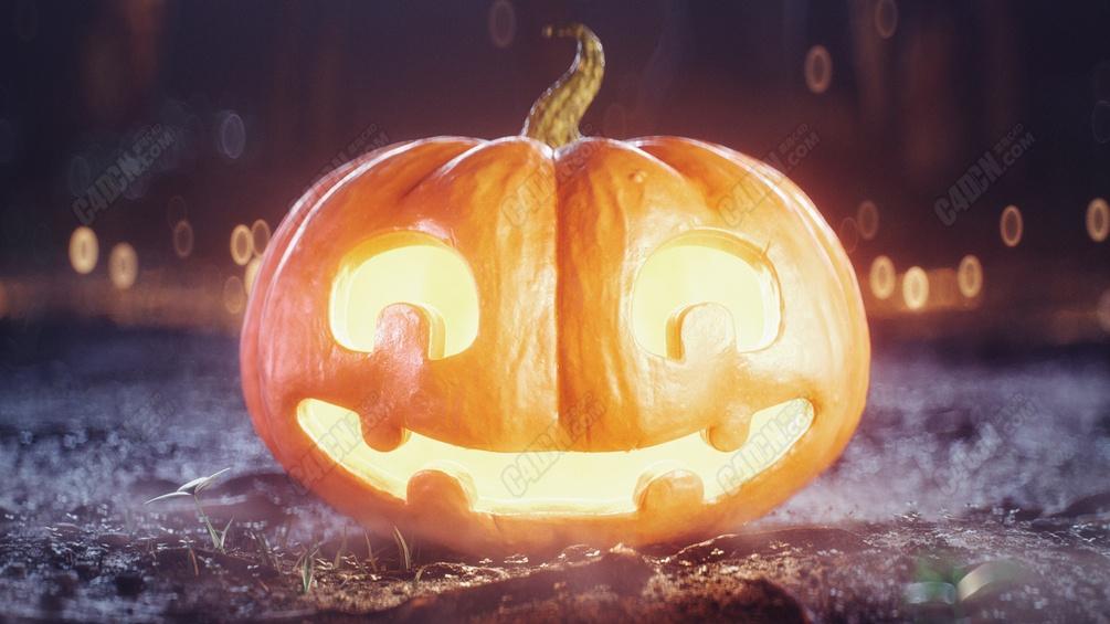 C4D写实万圣节发光南瓜头模型 Halloween Pumpkin