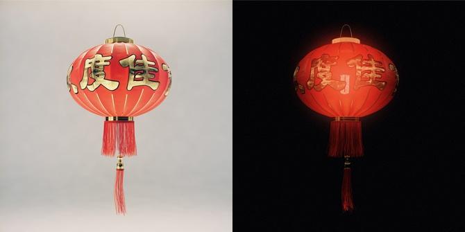 C4D中国红灯笼