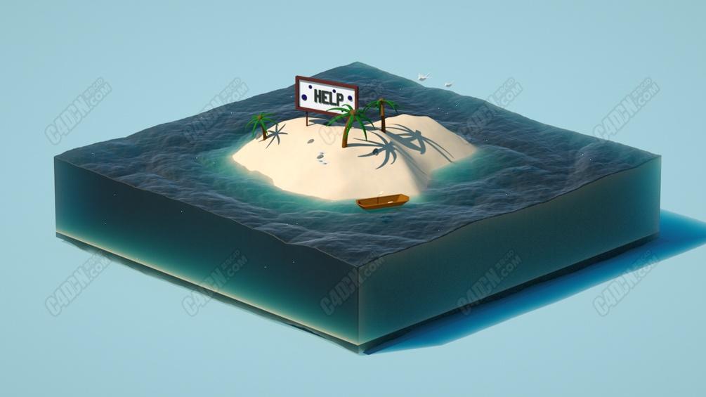 Octane渲染器海洋小岛地形剖面体C4D工程模型