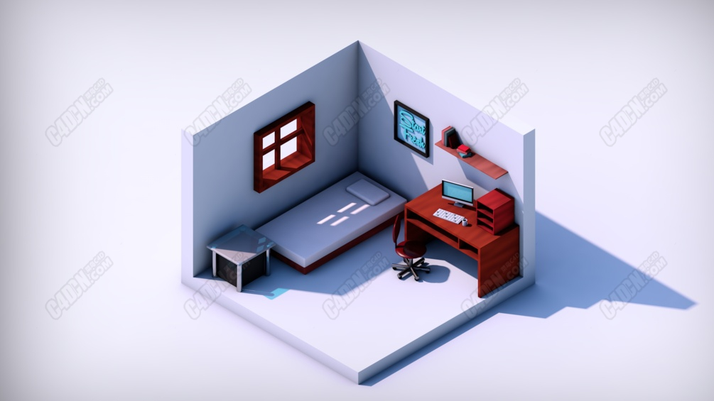 C4D微縮景觀室內臥室模型