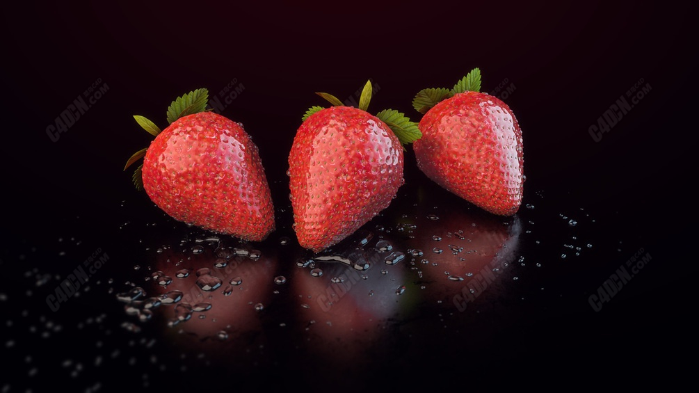 C4D写实草莓水果模型 Strawberry model