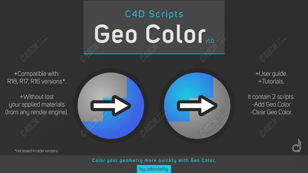 C4D地理颜色脚本 Geo Color - v1.1 C4D Scripts
