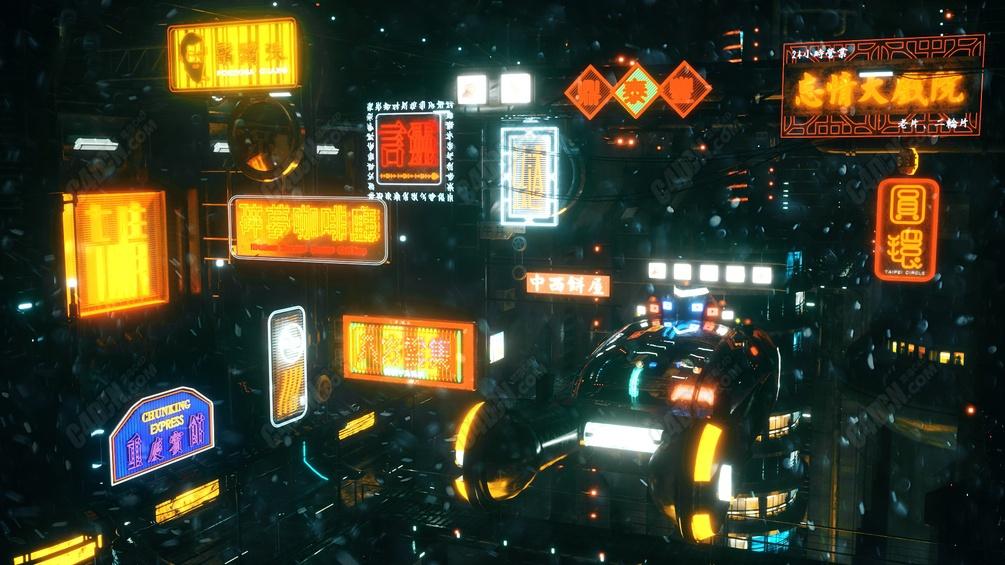 11个赛博朋克风格OC渲染器霓虹灯招牌C4D模型
