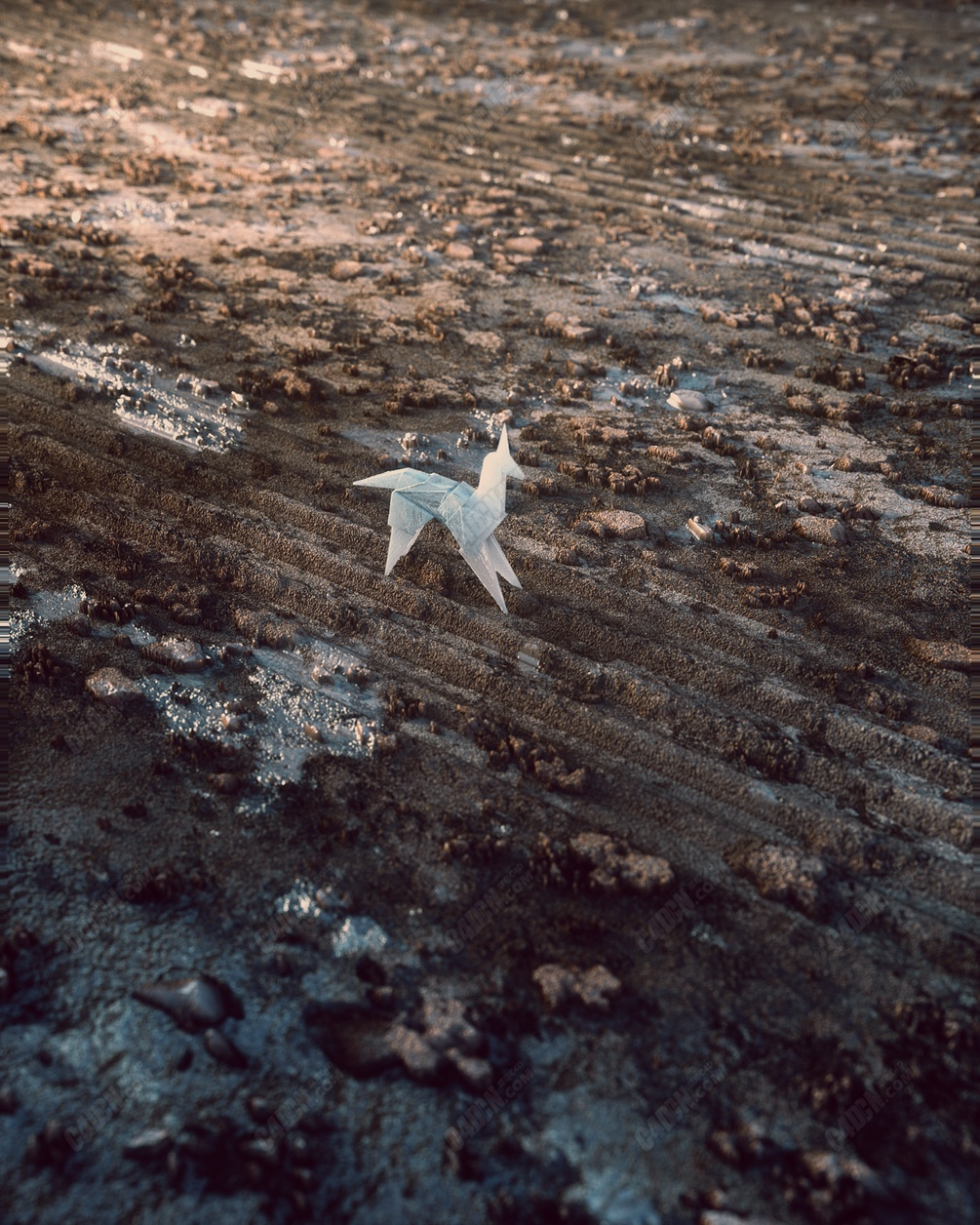 C4D超写实泥洼地面折纸模型