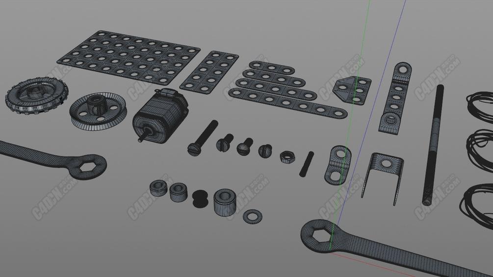 30个机械零件扳手马达螺丝帽电线圈C4D模型
