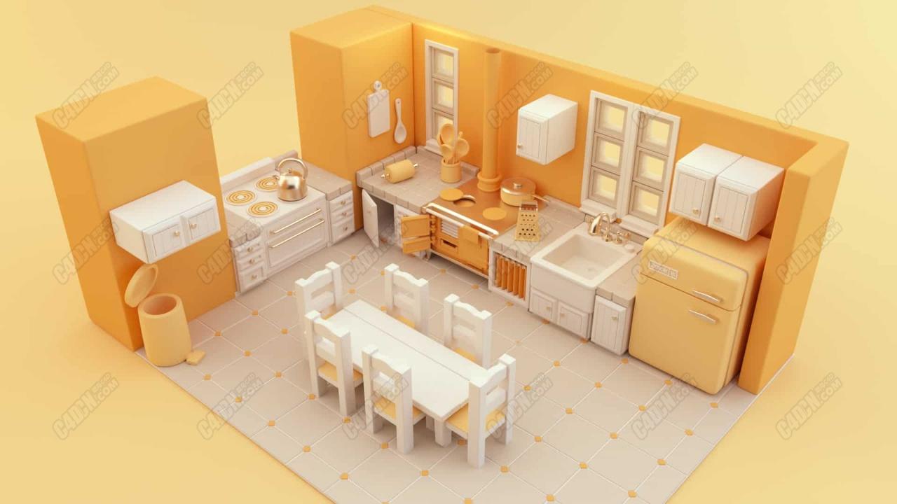 C4D卡通风格室内工程厨房餐厅硬表面建模布线教程