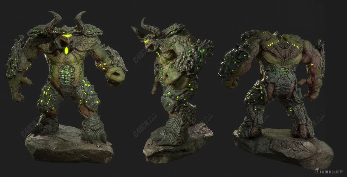 C4D站在石头上的巨人怪物模型