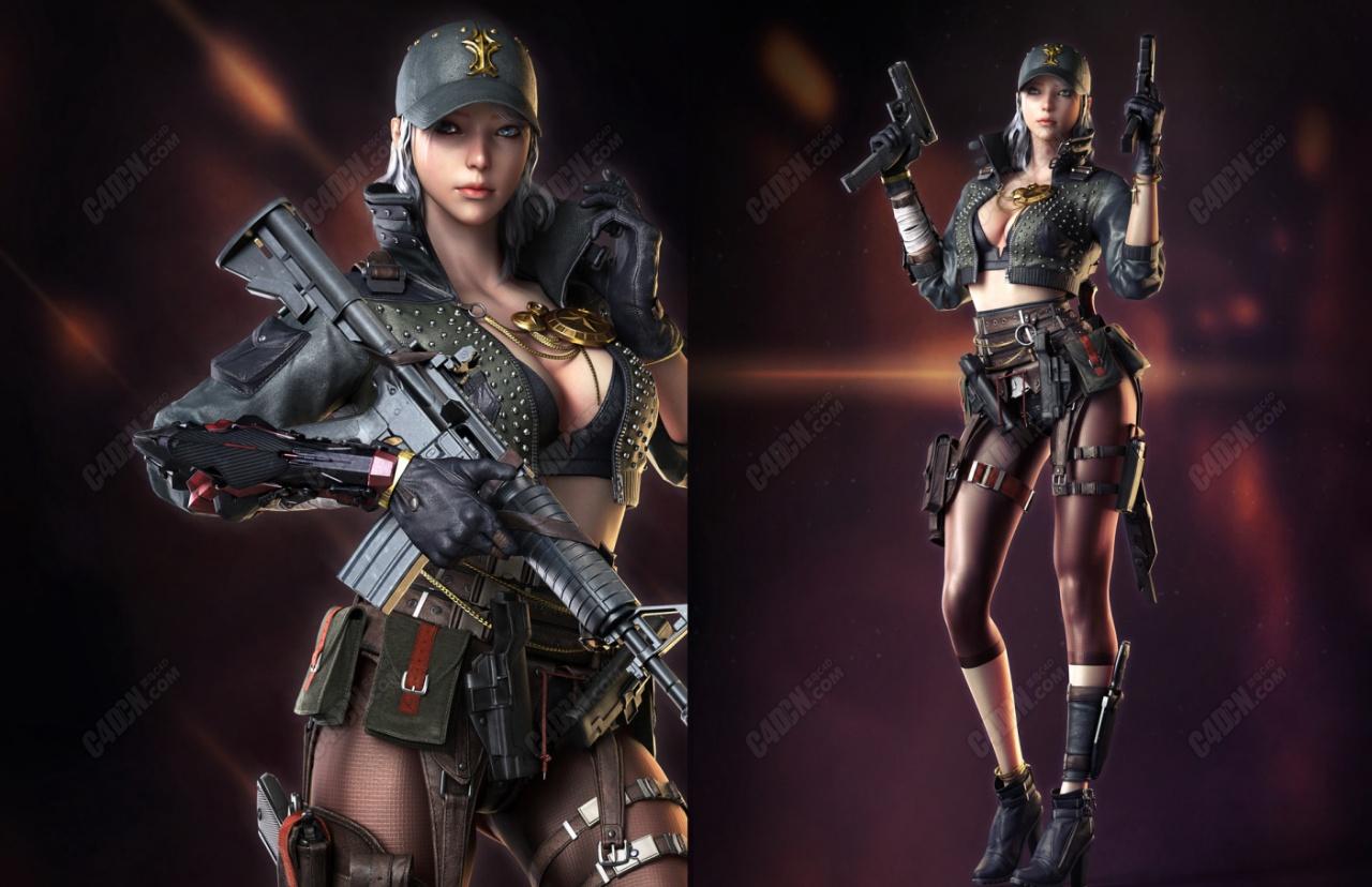 C4D女战士游戏人物模型 Character Design