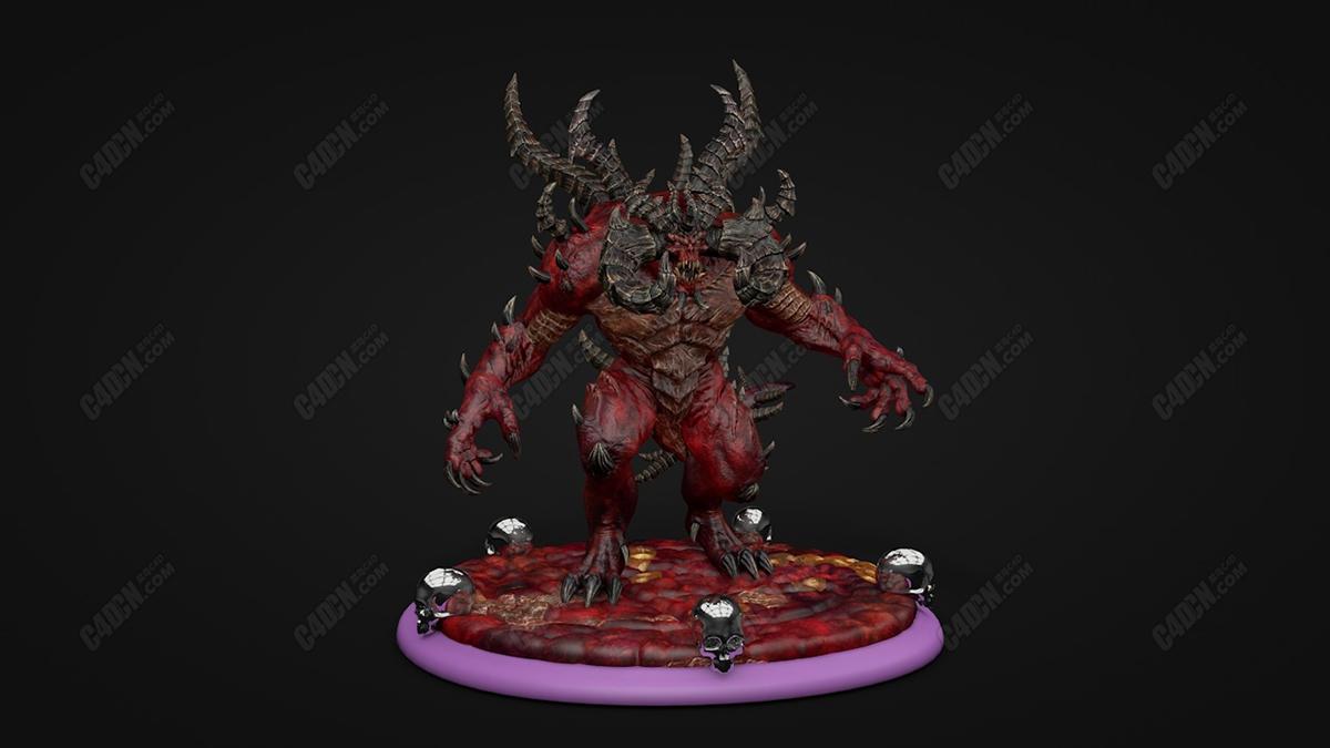 C4D熔岩多角怪兽怪物模型