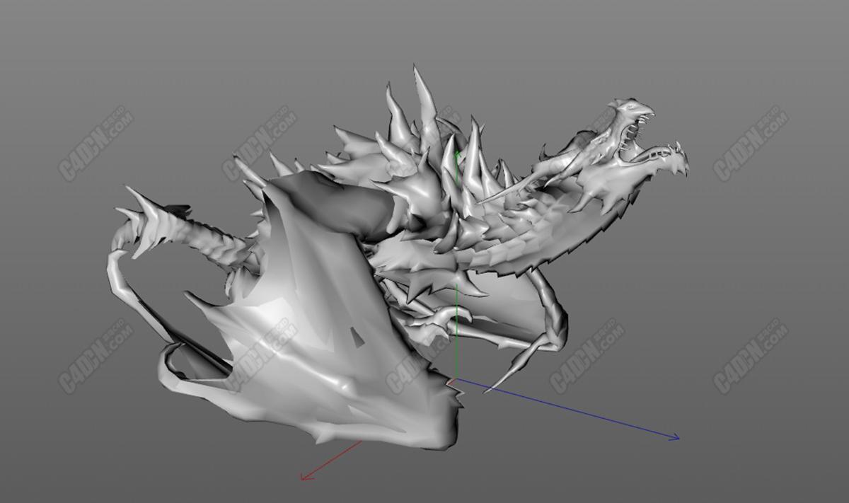C4D受傷咆哮的西方惡龍模型(含動畫)