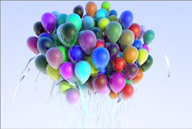 C4D一群气球模型 Balloons Model