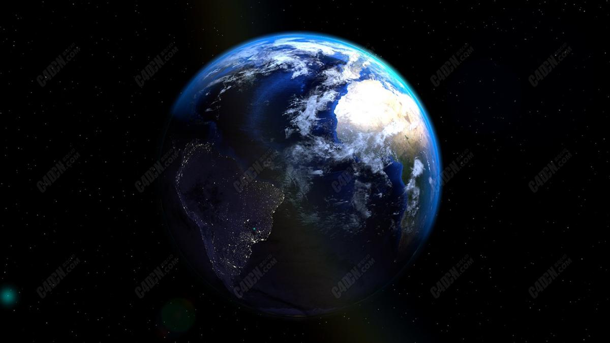 C4D超写实地球太空星空模型 Earth In Space Model