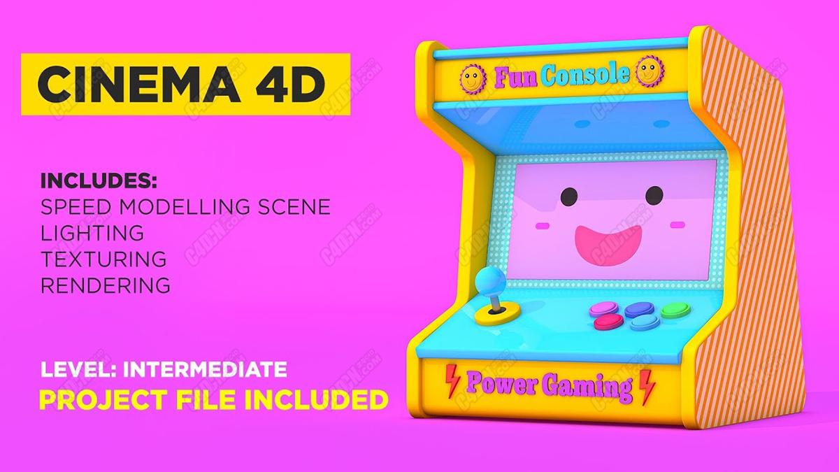 C4D卡通材质娃娃游戏机建模渲染教程