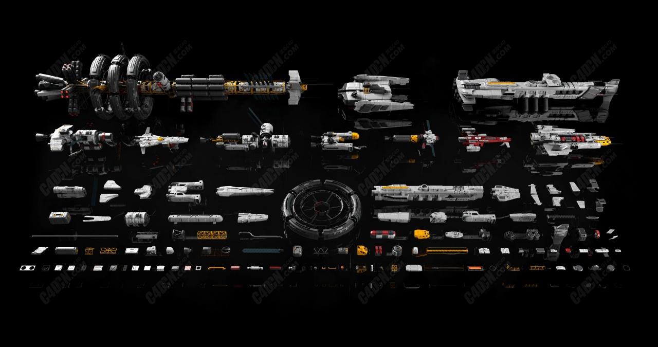超酷的C4D宇宙飞行器机械飞船科幻航天模型合集