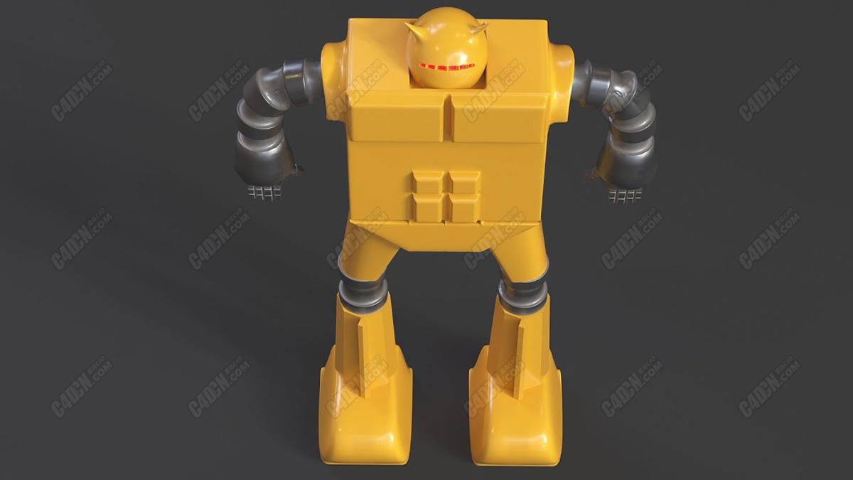 C4D方块软管机器人多边形卡边布线建模教程