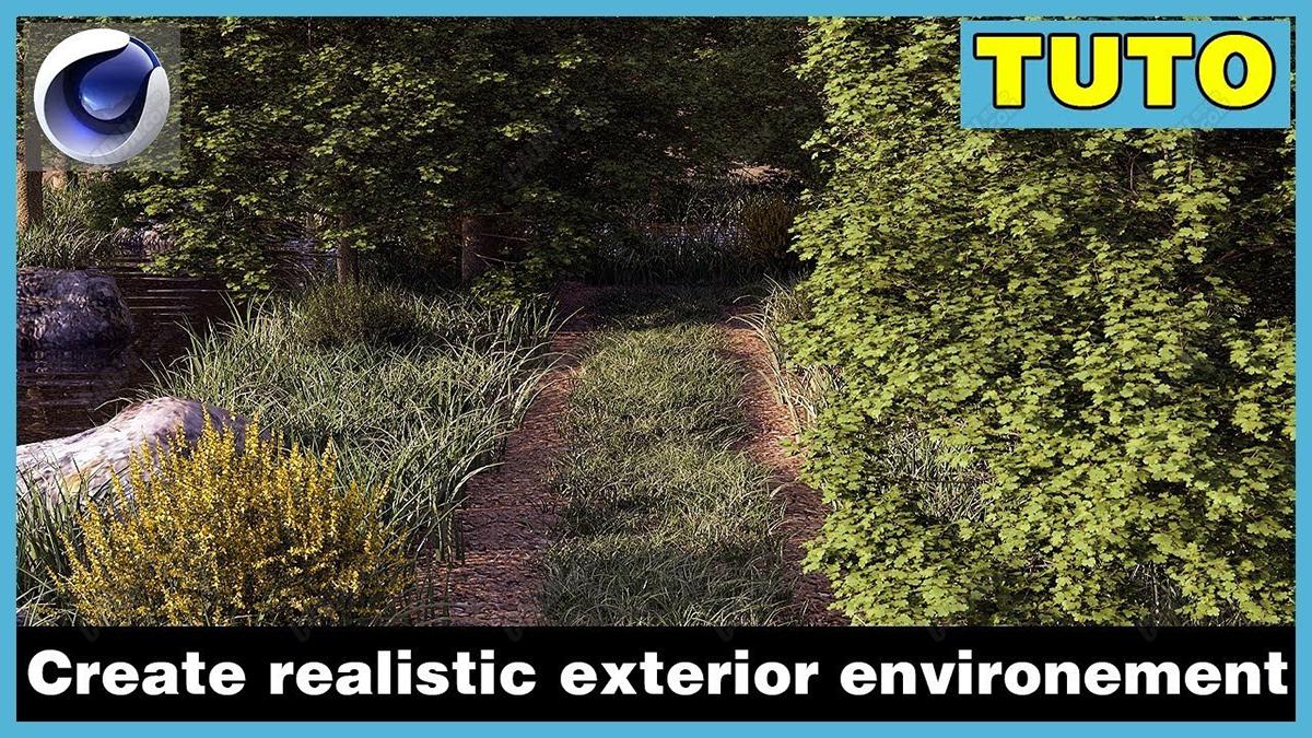 使用Redshift渲染器制作寫實野外森林場景建模渲染C4D教程