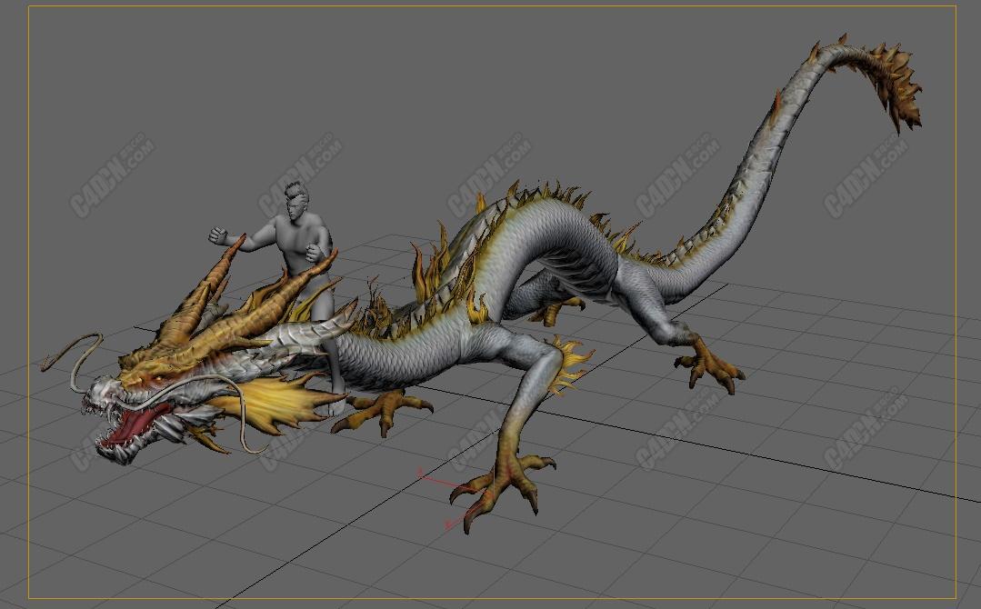 C4D高精度神话中国龙动物游戏角色模型[含动作]