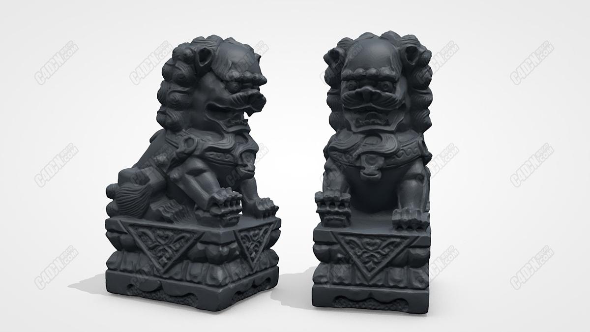 C4D模型 古代大宅守护神兽石狮子三维扫描高精度模型