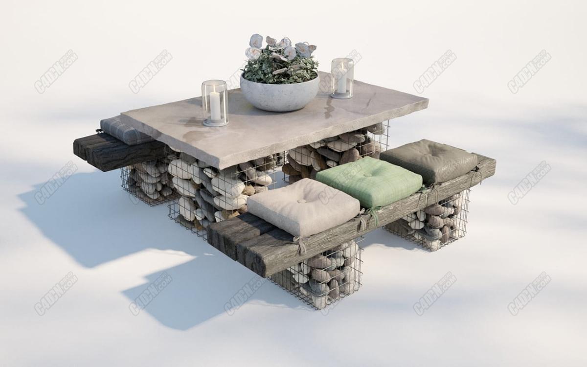 C4D大理石餐桌盆栽蜡鹅卵石凳子庭院家具模型