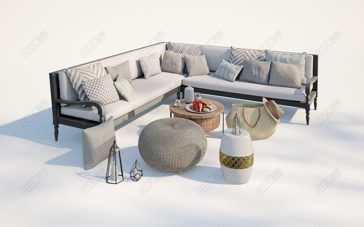 C4D拐角沙发布艺抱枕水果拼盘帽子挎包模型