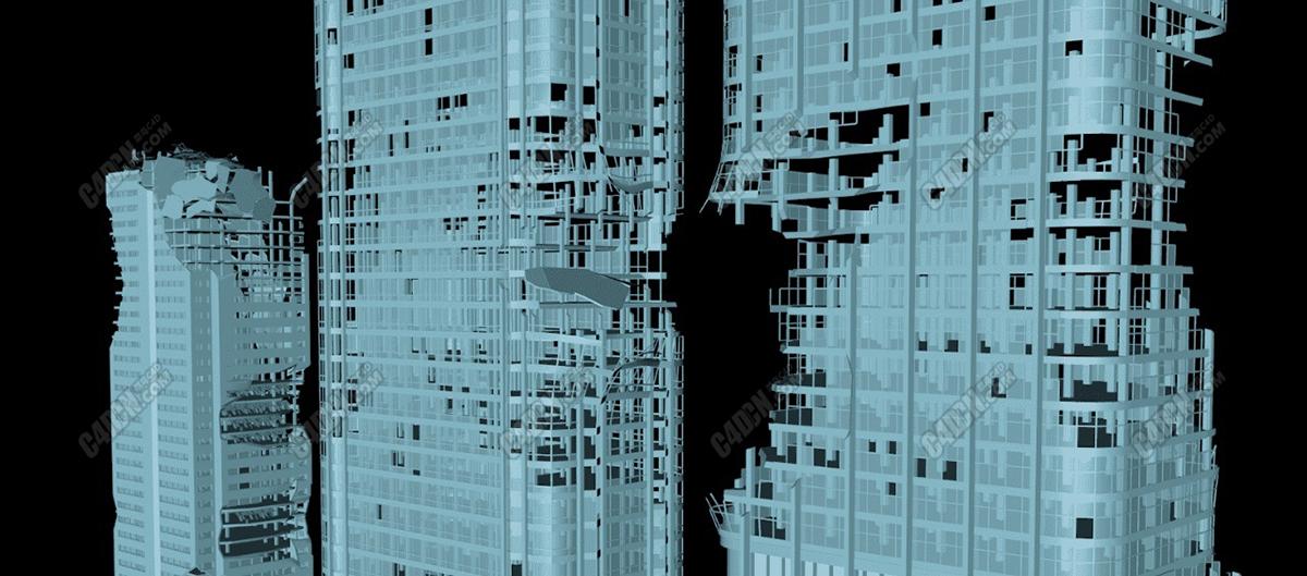 C4D战争废墟城市建筑物模型合集