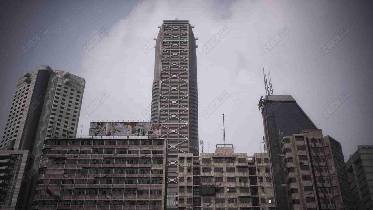 12组现代都市城市建筑大楼C4D模型合集包
