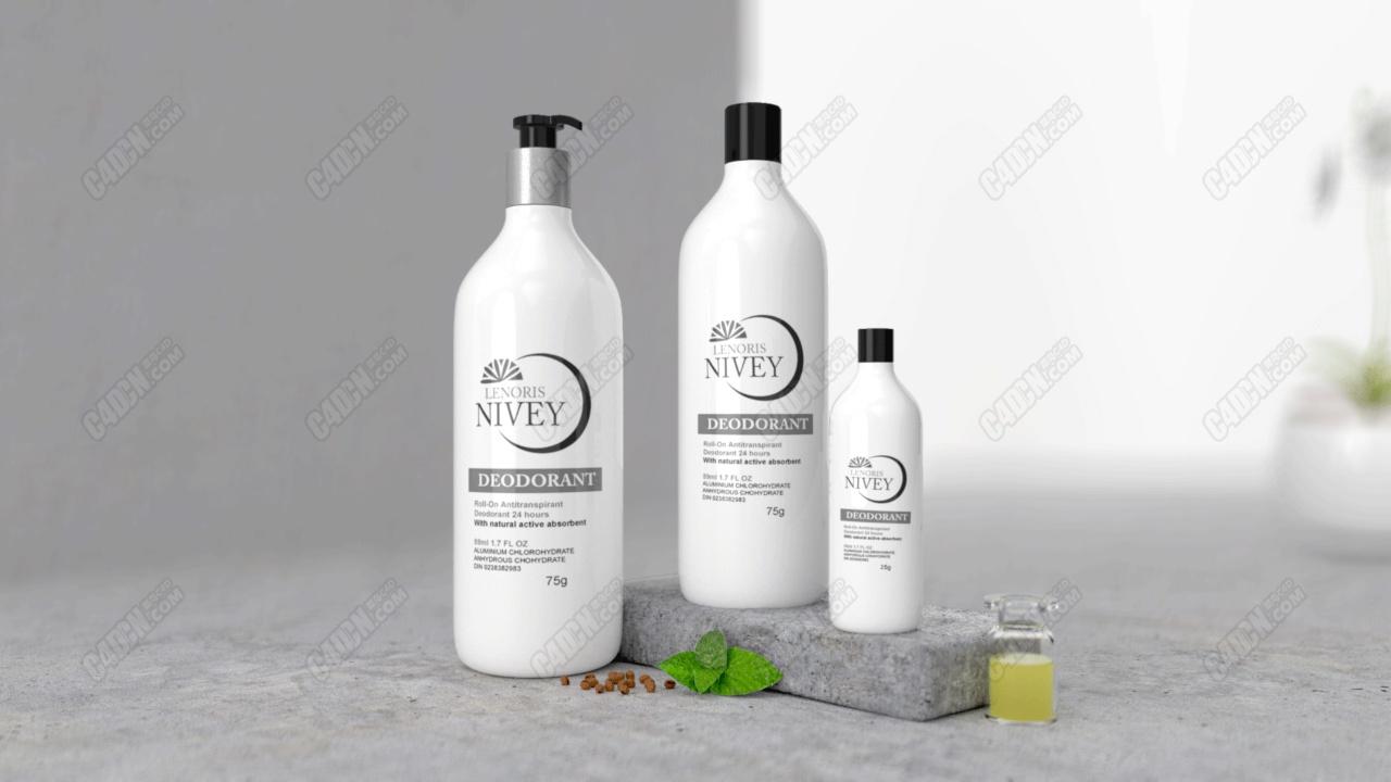 ODWOA化妆品包装瓶电商场景海报渲染C4D工程